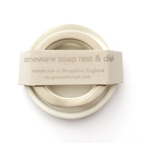 Stoneware soap rest & dish