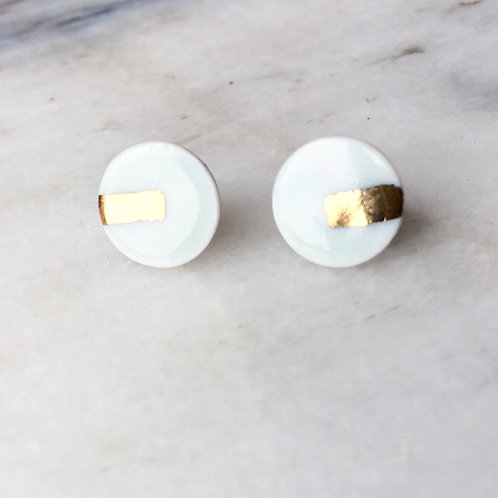 Pale green & real gold lustre studs