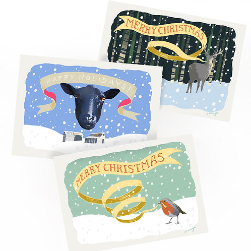 Mixed Christmas Cards - Mixed pack of 6