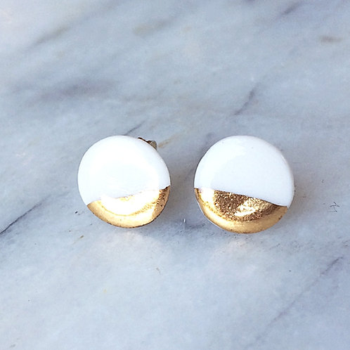 Porcelain & real gold studs