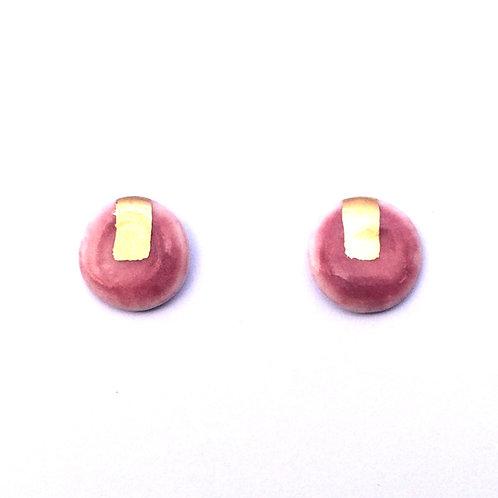 Pink glazed Gold lustre studs