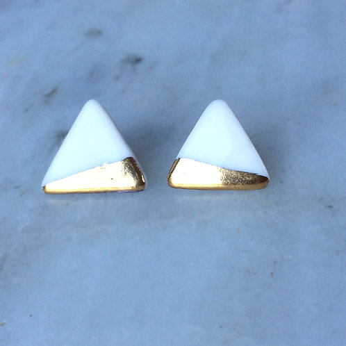 Porcelain & real gold lustre triangle studs