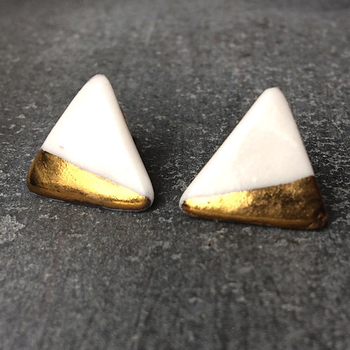 dipped real gold porcelain triangle studs