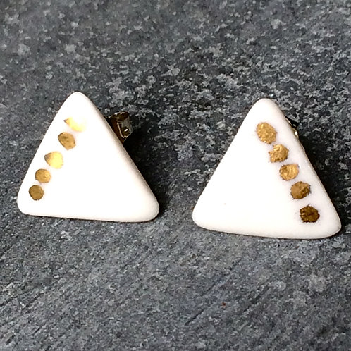 Porcelain & real gold lustre triangle dot studs