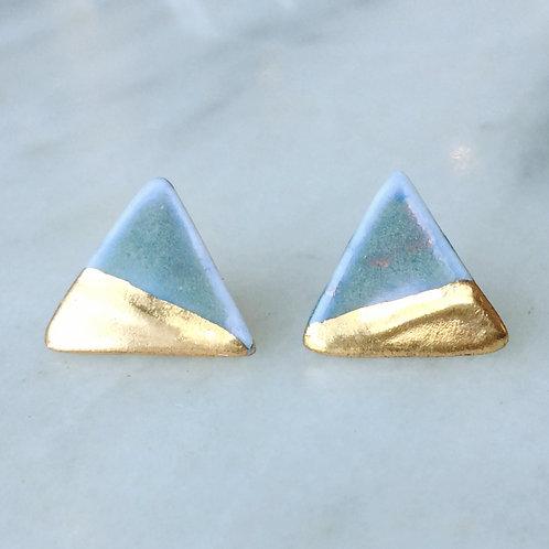 Porcelain & real gold lustre blue glaze triangles