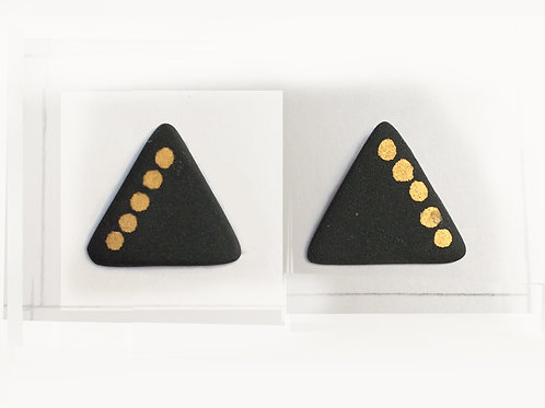 NUDE BLACK & REAL GOLD LUSTER DOTS TRANGLE STUDS