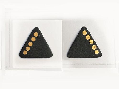 Nude black porcelain & gold triangles studs