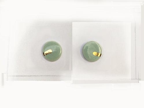 Sage & real gold lustre studs