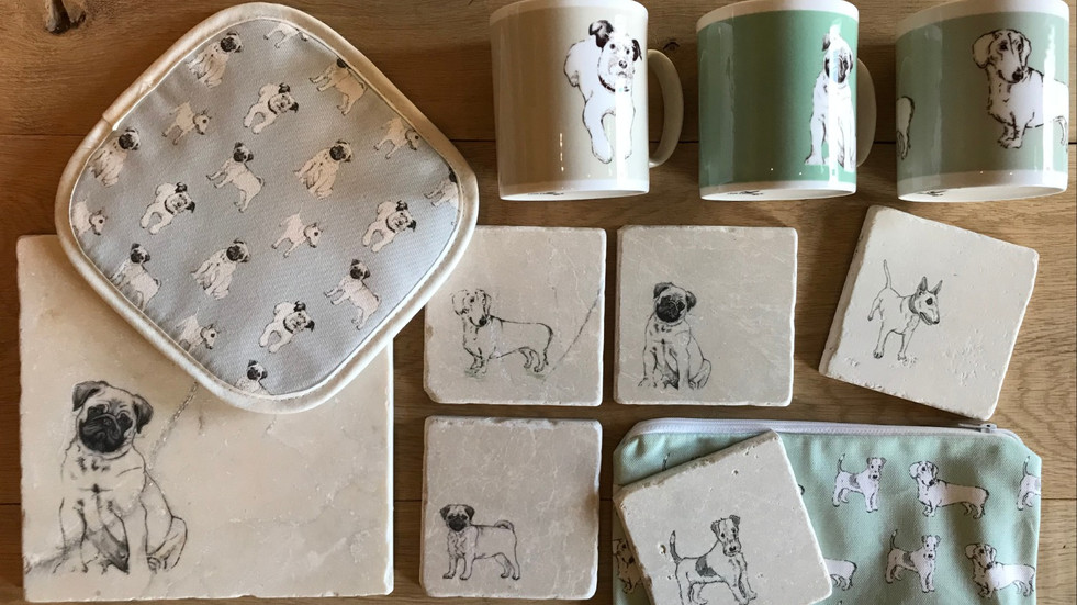 Mutts dog collection on stone, china and textiles