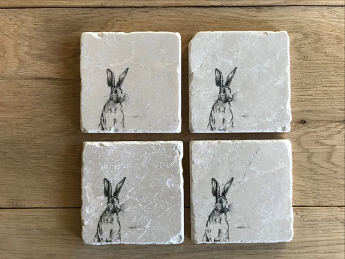 Horris Hare natural stone coaster
