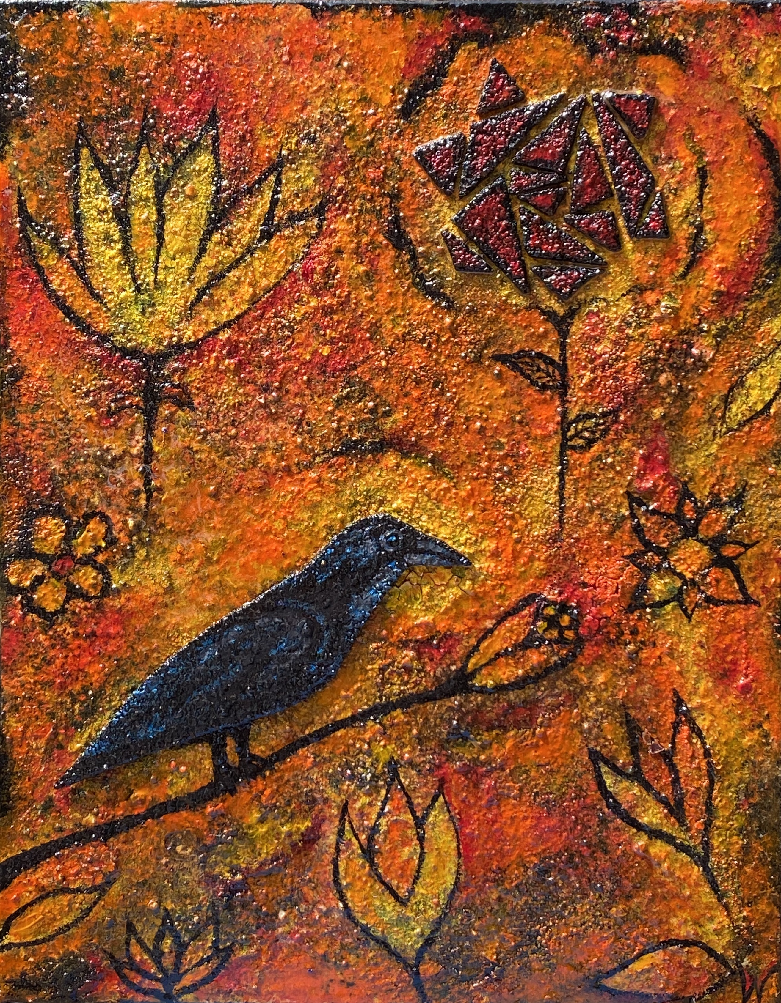 14 x 11 Crow in the Flower Storm