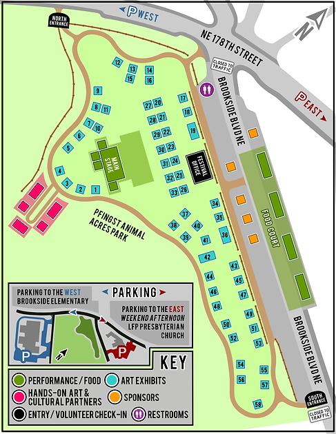 2021 Shoreline Arts Festival Map, Pfingst Animal Acres Park in Lake Forest Park Washington