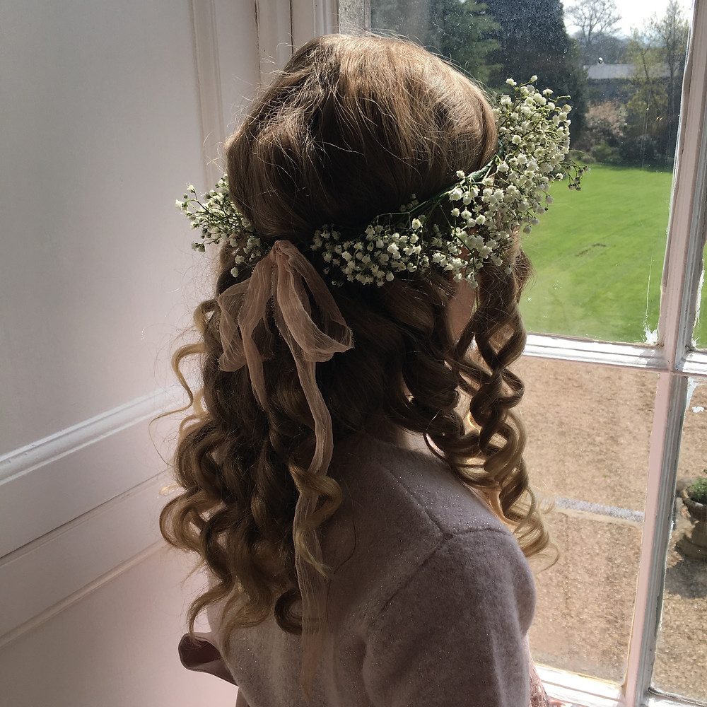 Bridesmaid with Gypsophila flower crown