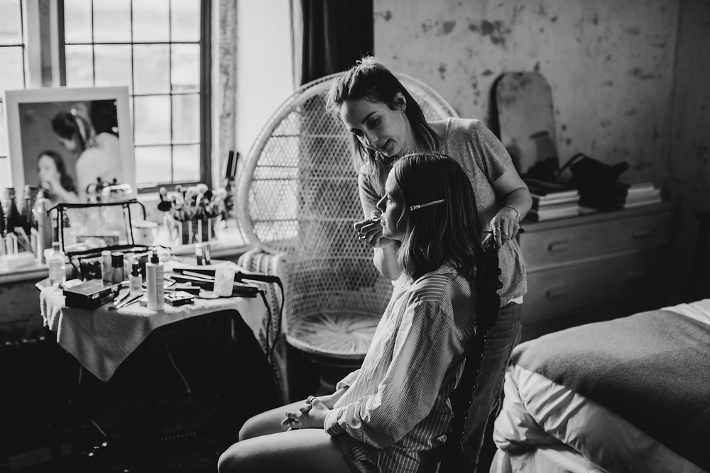 Wedding hair and makeup at Hauser and Wirth, Somerset
