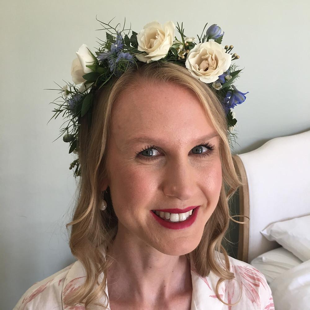 Boho bride with flower crown in hair