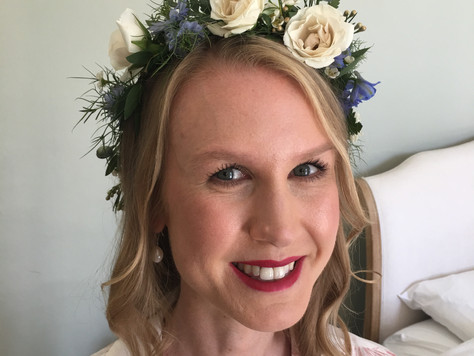 Classic makeup and boho bridal hair styling for a wedding in Somerset