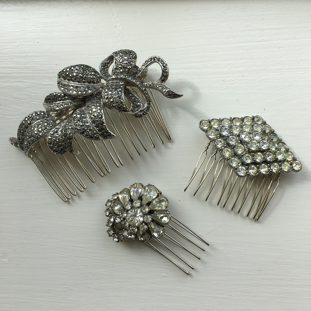 Vintage Sparkly Combs For Wedding Hair