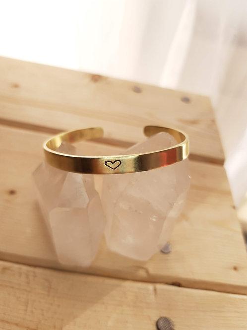 Bracelete Dourado Slim Coração