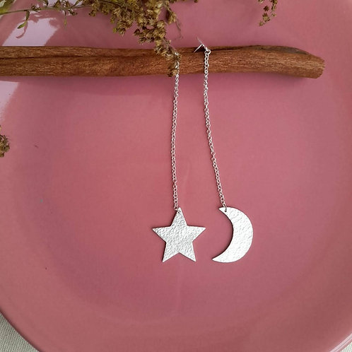 Brinco Longo Estrela & Lua