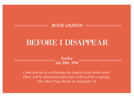Before I Disappear Book Launch