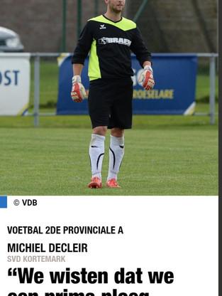 Michiel Decleir na de zege op Kfc Heist