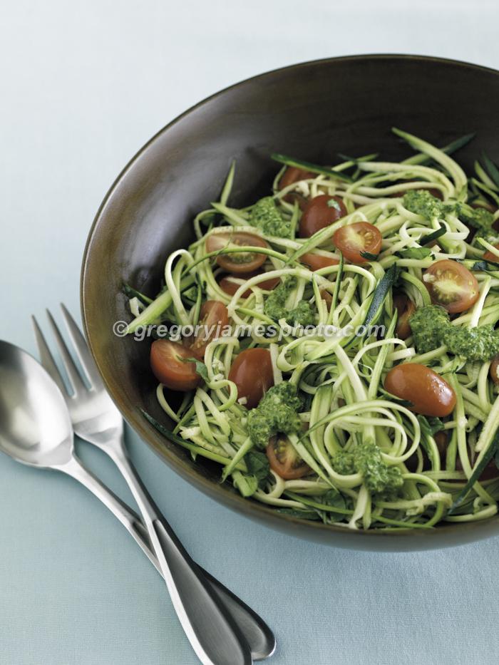 Zucchini with Pesto Cherry Tomatoes