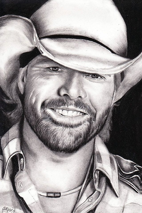 Original portrait drawing of Toby Keith