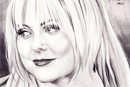 Original Portrait Drawing Of Lyn Bowtell by Chantell Alexi.