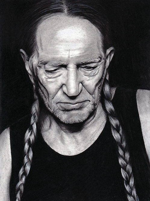 Original Charcoal Drawing of Willie Nelson by Chantell Alexi
