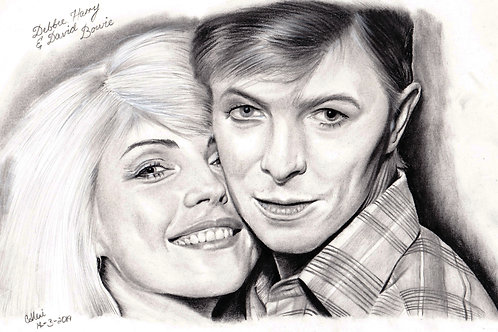 Original Drawing Of Debbie Harry and David Bowie by Chantell Alexi.