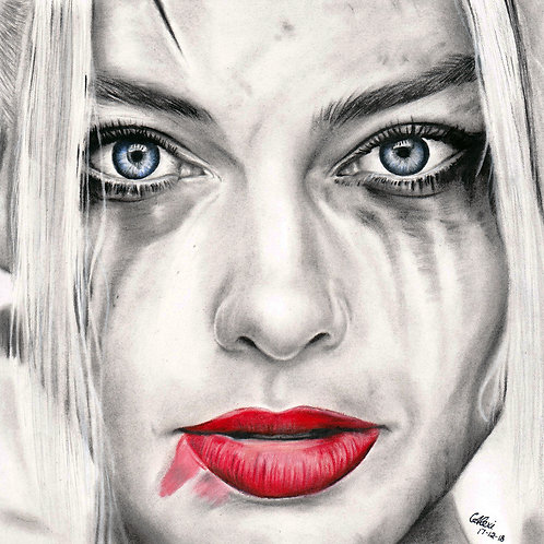 Charcoal Portrait Of Margot Robbie as Harley Quinn by Chantell Alexi