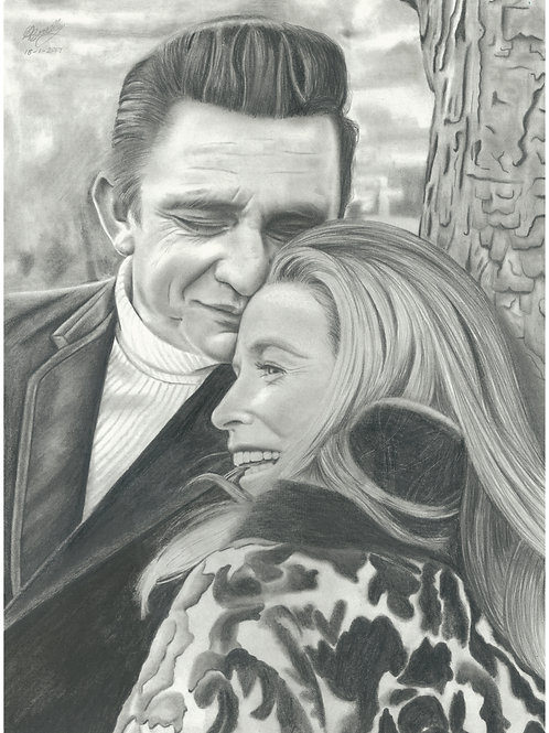Original Pencil drawing of Johnny Cash and June Carter.