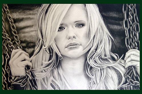 Original charcoal drawing of Miranda Lambert by Chantell Alexi