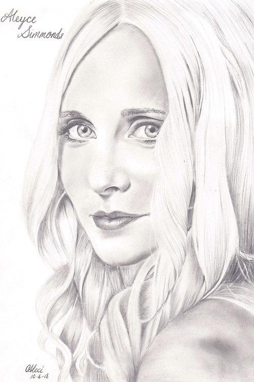 Original pencil drawing of Aleyce Simmonds