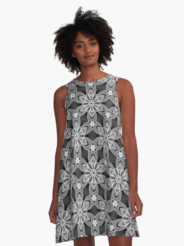 Black and white flower A-Line Dress