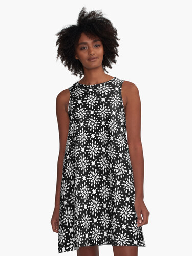 White flower A-Line Dress