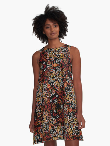 Explosion of colored lines A-Line Dress