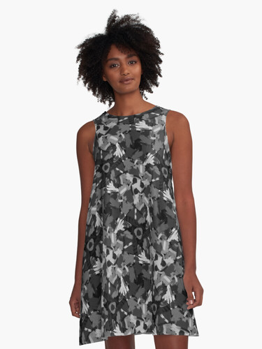 Black and white painting A-Line Dress