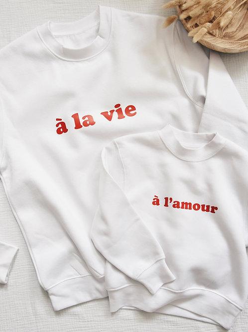 """Duo de sweats """"À LA VIE / À L'AMOUR"""""""