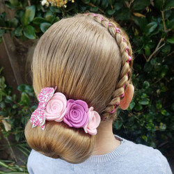 Updo style with ribbon braid