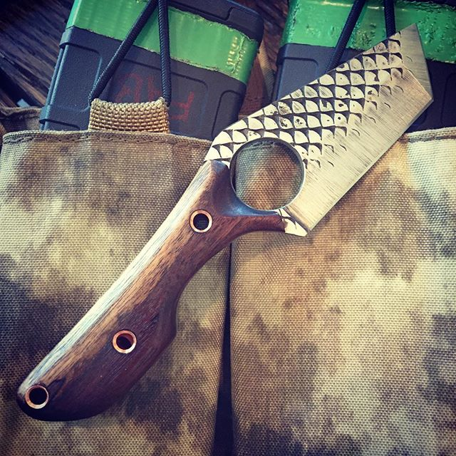 This EDC tanto with black walnut scales, copper hollow pins, made from a Farrier's rasp is for a luc