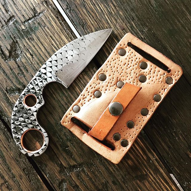 Custom knife and sheath. Knife from old farrier's rasp - RC 62-64