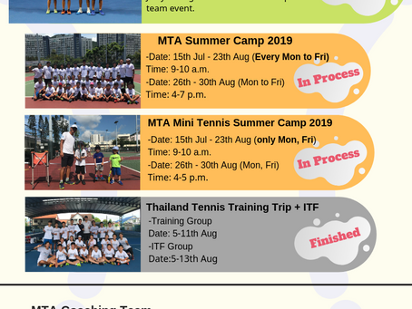 MTA Regular Tennis Lesson Schedule in September
