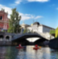 Kayaking under Ljubljana's bridges
