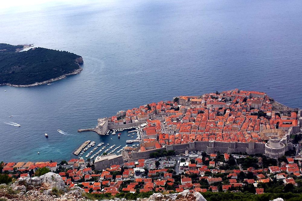 Iconic view over Dubrovnik and Lokrum Island