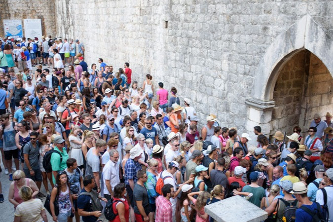 Traffic jam at one of Dubrovnik's gates