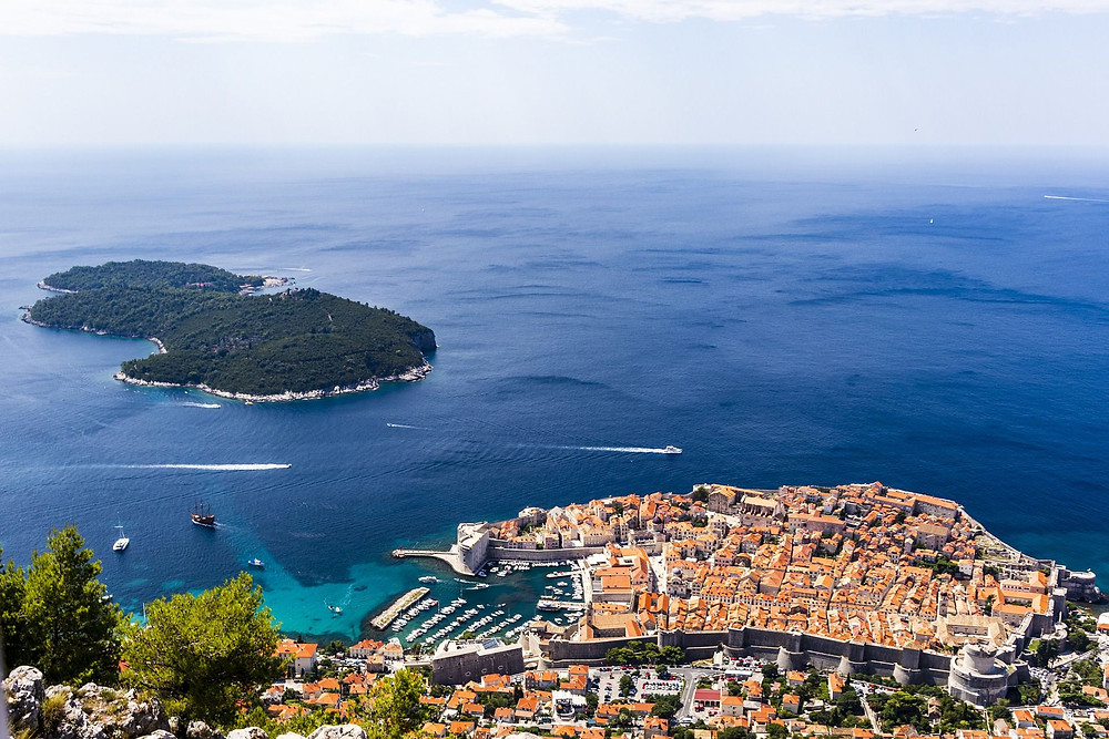 Dubrovnik's walled town as seen from the top of Srd Hill!