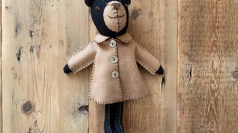 Bear in Jacket 'hanging and felt' (Freddie)