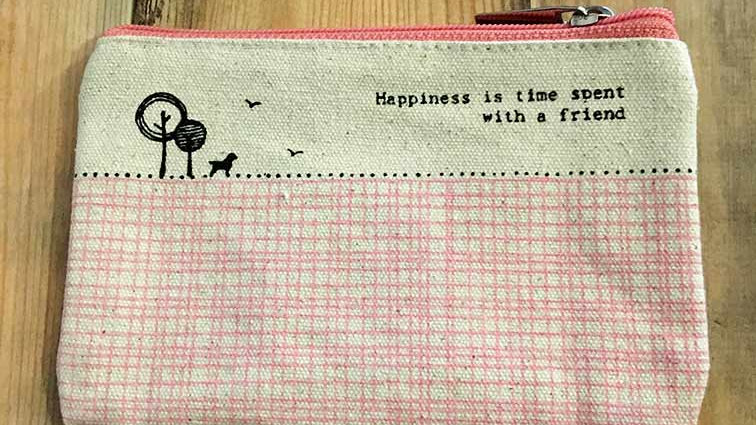 Happiness is time spent with a friend (East of India Purse)