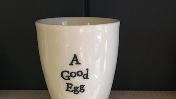 East of India ceramic Egg Cup 'A Good Egg'
